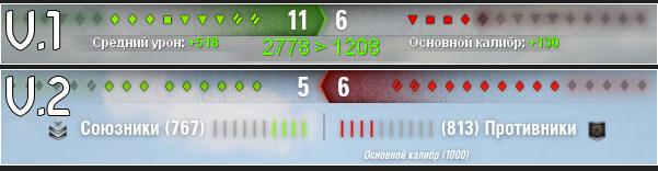 1 ХП команд - индикатор суммарной прочности WOT 0.9.17.0.3